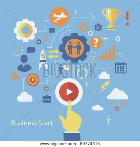 Business Start Infographics Template. Scheme With Humans