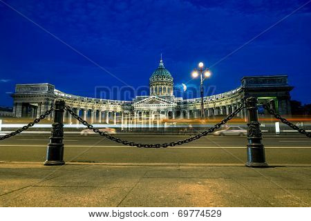 The Kazan Cathedral In St. Petersburg At Night Illumination