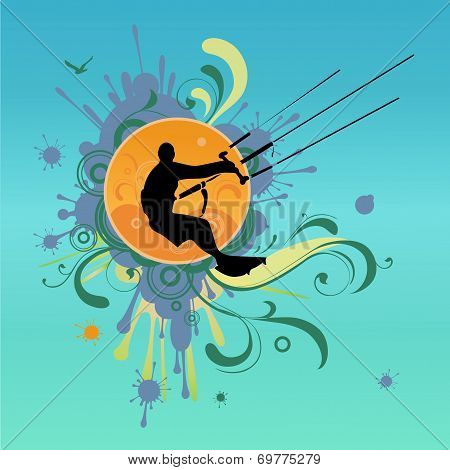 Retro Kite Surf Vector Illustration
