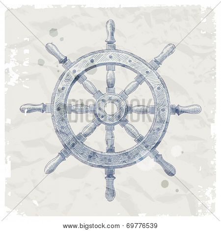 Hand drawn illustration - ship steering wheel