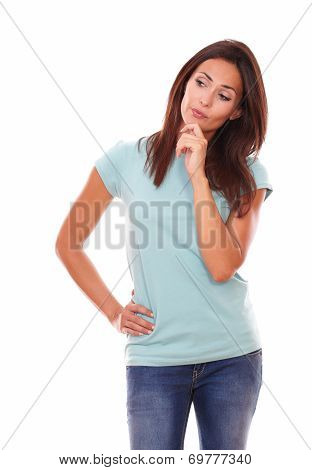 Pensive Adult Woman Looking At People