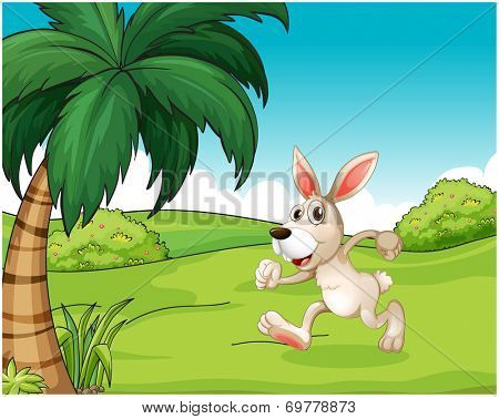 Illustration of a bunny running at the hilltop on a white background