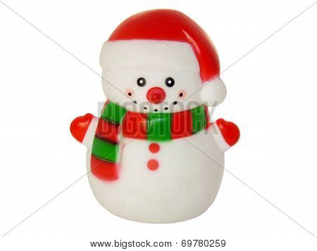 Snowman, Christmas Toys Isolated On White Background