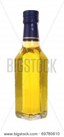 Yellow glass liquor bottle on white background.
