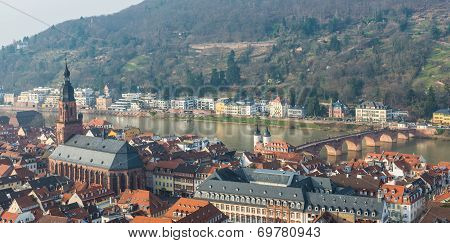 The Cityscape Of Heidelberg City With River Neckar And Church Of The Holy Ghost In Heidelberg, Germa