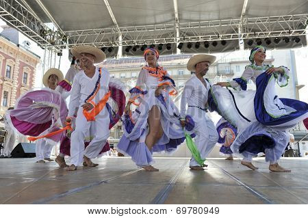 ZAGREB,CROATIA - JULY 17: Members of folk group Colombia Folklore Foundation from Santiago de Cali, Colombia during the 48th International Folklore Festival in center of Zagreb,Croatia on July 17,2014