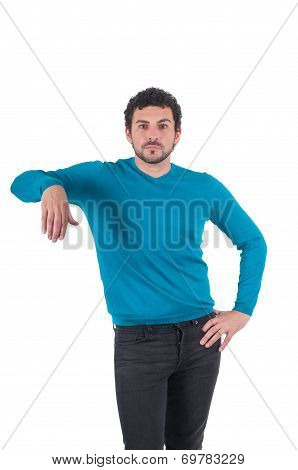 Man leaning on an invisible object