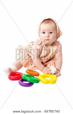 Child  Girl  Playing With Educational Toy Color Pyramidion  Isolated On White Background, Developing