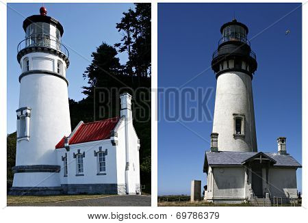Two Oregon Coast lighthouses