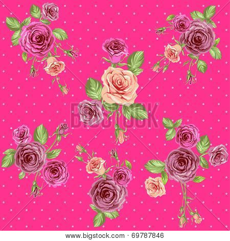 Bright pink floral pattern with retro roses. Seamless background. Raster version.