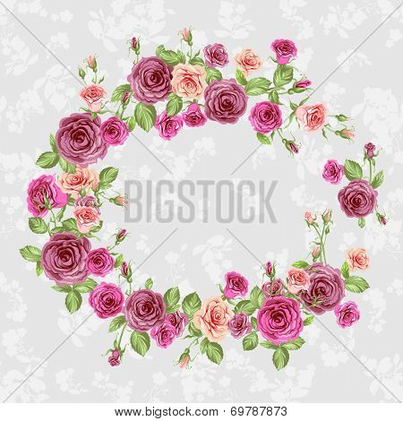 Floral frame with beautiful roses. Raster version.