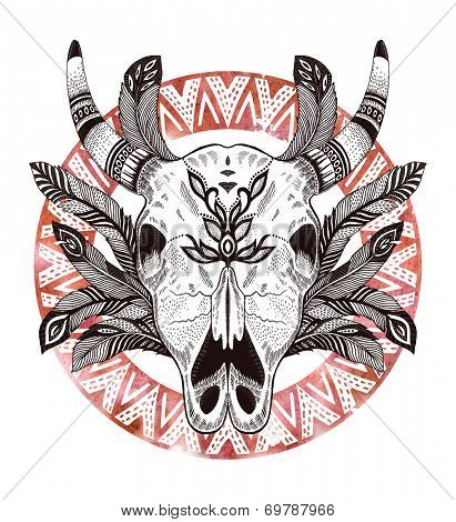 psychedelic ethnic cow scull with feathers and border