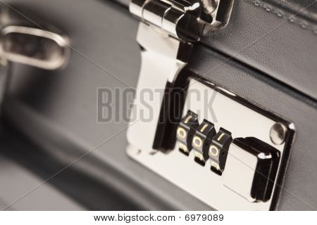 Close Up Shot Of Black Briefcase Latch And Lock