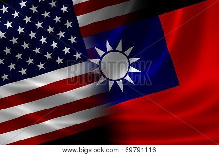 Merged Flag Of Usa And Taiwan