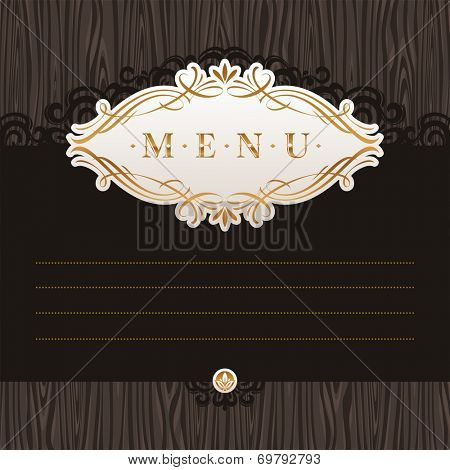 Template menu with calligraphic frame on wooden texture