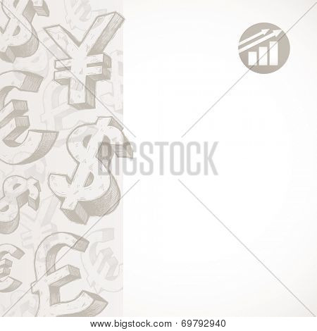 Background with hand drawn currency signs