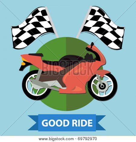 racing motorcycle badge - flat design vector