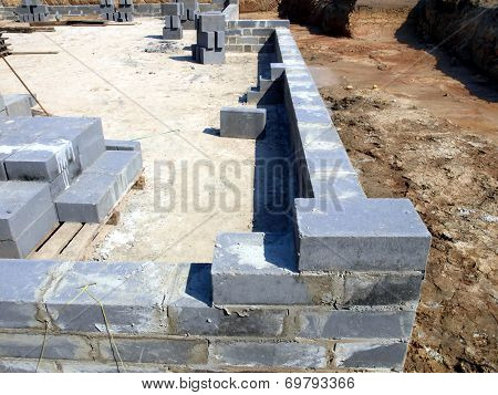 An Initial Stage Of Building The Foundations Of A Residential House