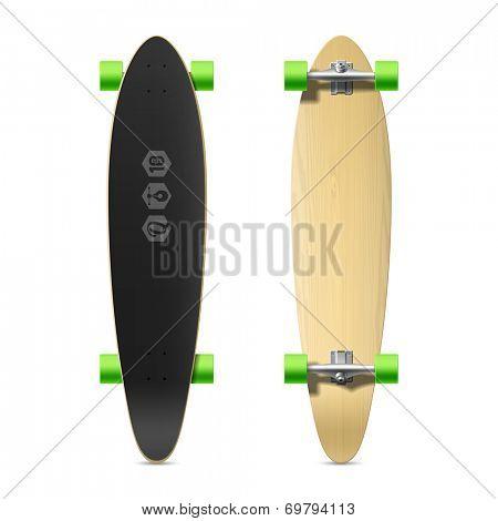 Photorealistic longboard, skateboard. Vector.