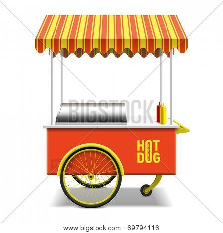 Hot dog, street cart. Vector.