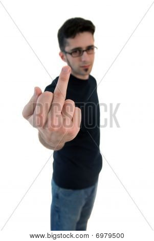 Man giving the middle finger