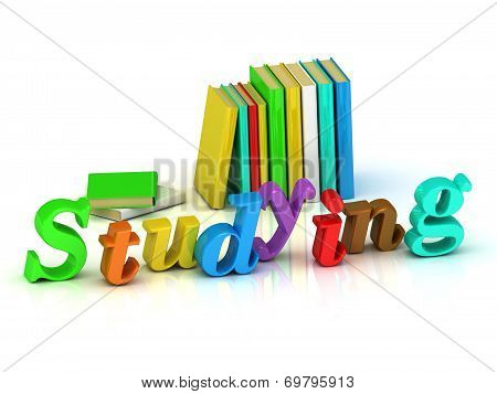 Studying Inscription Bright Volume Letter And Colour Books