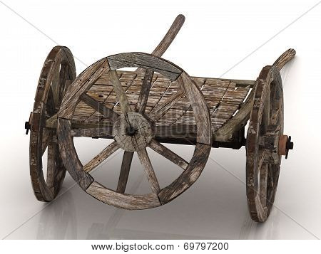 Old Wagon Cart With Wooden Wheels Isolated