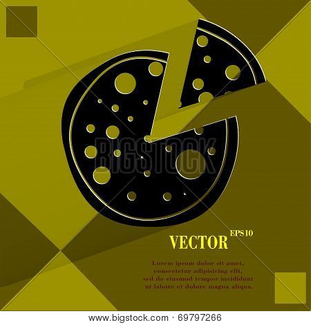 Pizza. Flat modern web button on a flat geometric abstract background