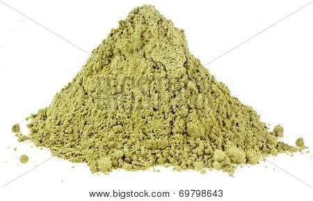 Heap pile of Matcha, Green Japanese Powered Tea  isolated on white background