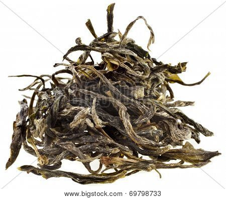 Heap pile of dry green tea leaves Huan Shan Mao Fen  isolated on white background