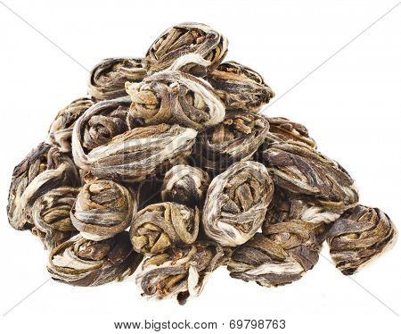 Heap pile of Green Jasmine Tea - Phoenix Eyes  isolated on white background