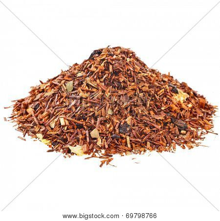 Heap pile of Rooibos tea  isolated on white background