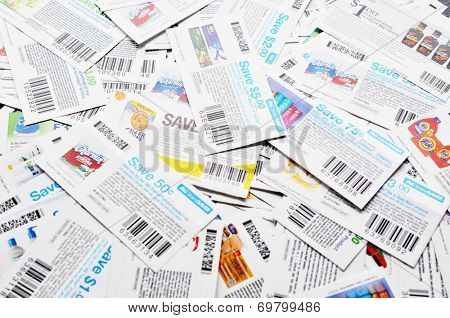 COQUITLAM, BC, CANADA - MAY 8 - Coquitlam BC Canada - May 8, 2014 : Coupons background. All coupons for Canadian store, they are issued by manufacturers of consumer packaged goods Canada.
