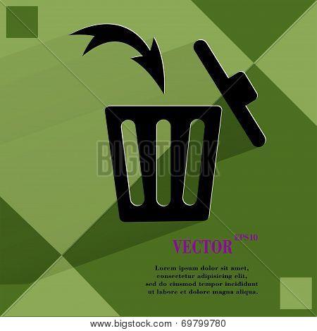 Trash bin. Flat modern web button  on a flat geometric abstract background