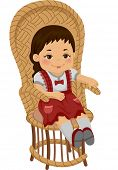 foto of rag-doll  - Illustration of a Rag Doll Sitting on a Rattan Chair - JPG