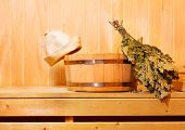 image of sauna  - various sauna accessories in a wooden sauna - JPG