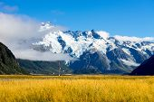 picture of tramp  - Beautiful natural landscape of mountains of New Zealand - JPG