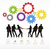 stock photo of tug-of-war  - Vector Of Business People In Tug Of War - JPG