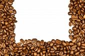 stock photo of coffee crop  - Coffee. brown coffee beans isolated on white background. Frame of coffee. Coffee Border
