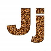 foto of letter j  - coffee letter on white - JPG