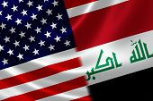 picture of merge  - Merged US and Iraqi flag on satin texture - JPG