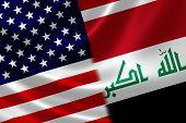 stock photo of merge  - Merged US and Iraqi flag on satin texture - JPG