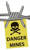 stock photo of stockade  - Danger mines and barbed wire - JPG