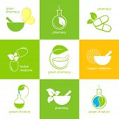 pic of pestle  - Set of icons and emblems for pharmacy and herbal medicine - JPG