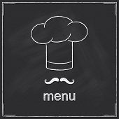 stock photo of moustache  - Design for restaurant menu in chalkboard style with Chef - JPG