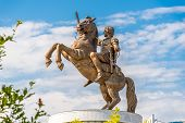stock photo of macedonia  - Sculpture Alexander the Great at the Macedonia square - JPG
