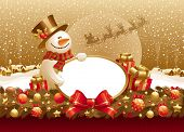 picture of merry chrismas  - Chrismas illustration with snowman - JPG