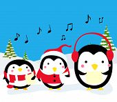 picture of christmas song  - Vector illustration of three penguins Christmas Carolers - JPG
