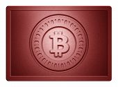 picture of bronze silver gold platinum  - Red metallic plate with bitcoin logo stamp on it and clippingpath for white background removal - JPG
