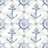 image of ship steering wheel  - Seamless nautical background with hand drawn elements  - JPG